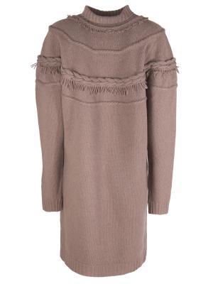 Вязаное платье AGNONA. Цвет: коричневый