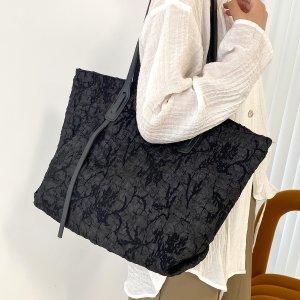 Минималистичная большая сумка-тоут SHEIN. Цвет: чёрный