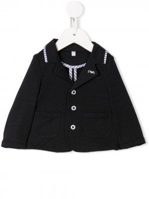 Пиджак с контрастной отделкой Emporio Armani Kids. Цвет: синий