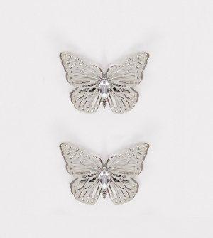 Набор из 2 серебристых заколок с крупными бабочкаи -Серебряный ASOS DESIGN