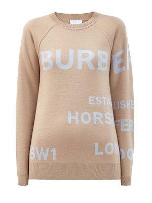 Джемпер-свитшот из шерсти с принтом Horseferry BURBERRY. Цвет: бежевый