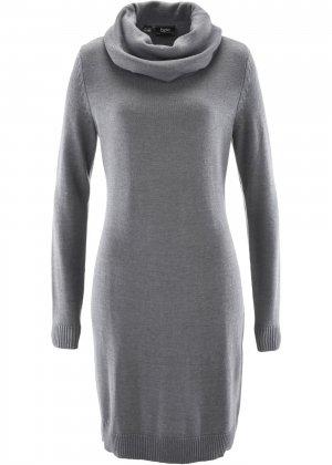 Вязаное платье с воротником гольф bonprix. Цвет: серый