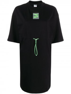 Платье-толстовка с кулиской Puma. Цвет: черный