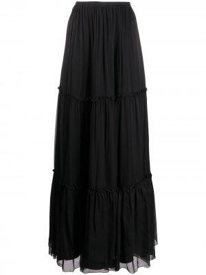 Ярусная юбка макси Federica Tosi. Цвет: черный