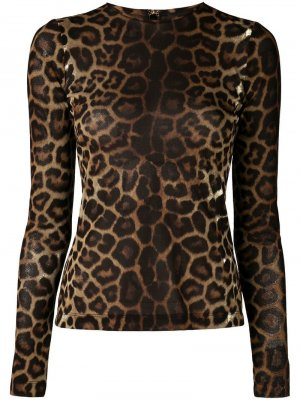Толстовка с леопардовым принтом Christian Siriano. Цвет: коричневый