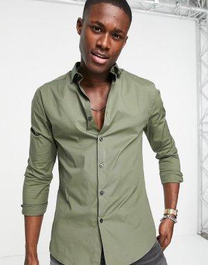 Обтягивающая рубашка цвета хаки из поплина с длинными рукавами -Зеленый цвет New Look