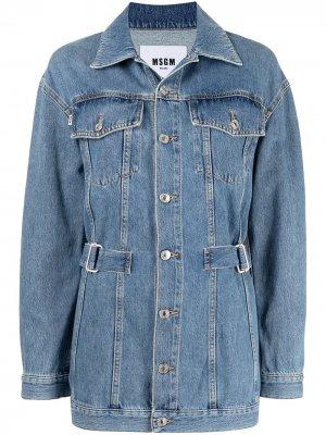 Джинсовая куртка со вставками MSGM. Цвет: синий