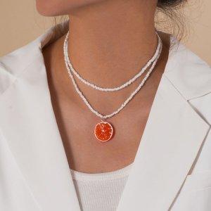 2шт Ожерелье из бусин с оранжевым декором SHEIN. Цвет: оранжевый