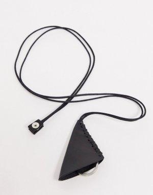 Кожаный ремешок с карабином для ключей плетеной отделкой -Черный ASOS DESIGN
