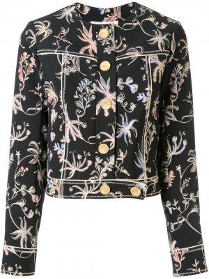 Укороченная куртка с цветочным принтом Peter Pilotto. Цвет: черный
