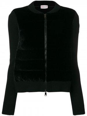 Velvet front knitted jacket Moncler. Цвет: черный
