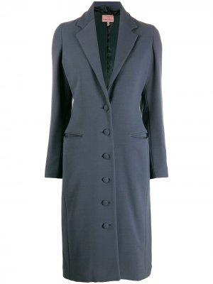 Пальто длины миди 1996-го года на пуговицах Romeo Gigli Pre-Owned. Цвет: синий