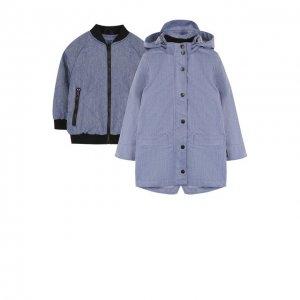 Комплект из дождевика с капюшоном и текстильного бомбера Gosoaky. Цвет: синий