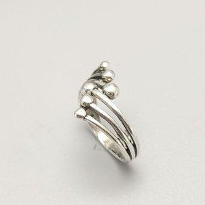 Открытое кольцо Круглый мяч SHEIN. Цвет: античное серебро