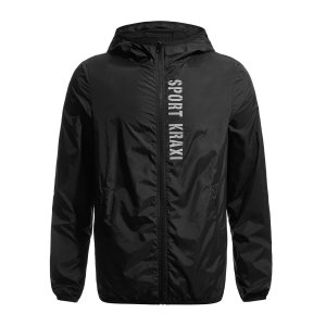 Мужской Куртка-ветровка с текстовым принтом капюшоном спортивный SHEIN. Цвет: чёрный