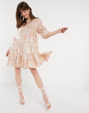 Розовое свободное платье с мраморным принтом -Розовый цвет In Wear