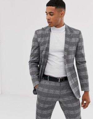 Серый пиджак в клетку с заостренными лацканами Only & Sons