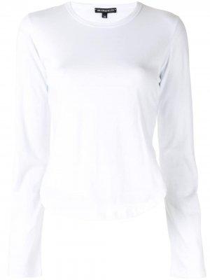 Топ с длинными рукавами и боковыми разрезами Ann Demeulemeester. Цвет: белый