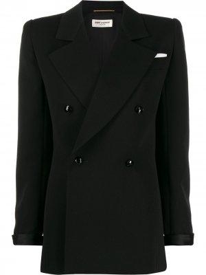 Двубортный пиджак с объемными плечами Saint Laurent. Цвет: черный