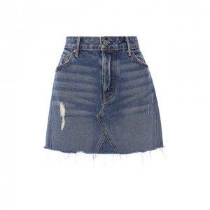 Джинсовая мини-юбка с потертостями GRLFRND. Цвет: синий