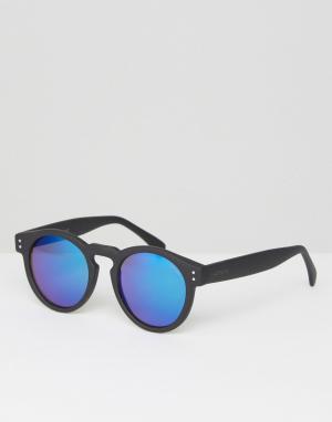 Круглые солнцезащитные очки в черной оправе с синими стеклами C Komono. Цвет: черный