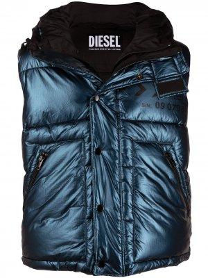 Дутый жилет с логотипом Diesel. Цвет: синий