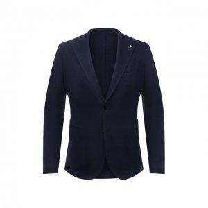 Пиджак из хлопка и льна L.B.M. 1911. Цвет: синий