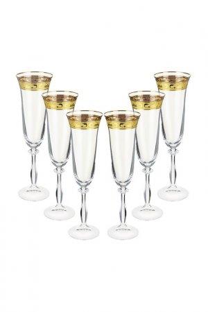 Бокал для шампанского, 6 шт BOHEMIA CRYSTAL. Цвет: золотой, диарит