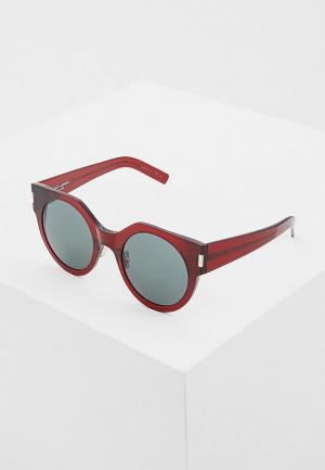Очки солнцезащитные Saint Laurent SL 185 SLIM003. Цвет: бордовый