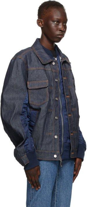 Navy Sacai Edition Denim Eimi Jacket A.P.C.. Цвет: iak dk navy