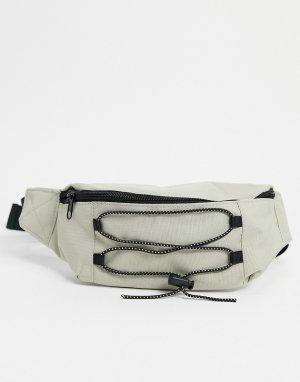 Бежевая сумка-кошелек на пояс в утилитарном стиле -Коричневый цвет Only & Sons