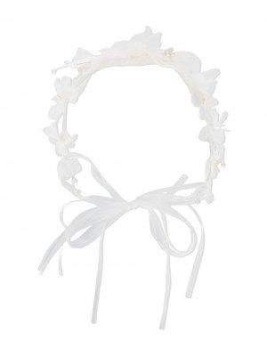 Повязка на голову с цветочной аппликацией Aletta. Цвет: белый