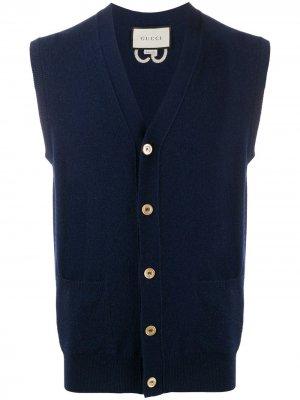 Трикотажный жилет с логотипом GG Gucci. Цвет: синий