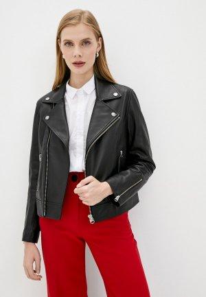 Куртка кожаная Calvin Klein. Цвет: черный