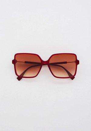 Очки солнцезащитные Fendi FF 0411/S LHF. Цвет: бордовый