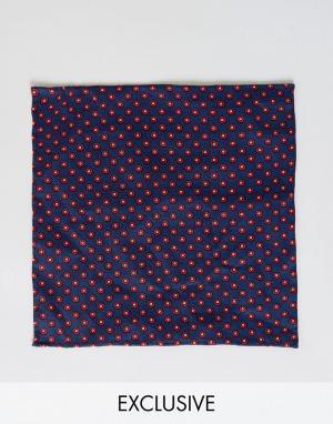 Платок для пиджака с мелким геометрическим принтом Heart & Dagger. Цвет: темно-синий