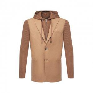 Шерстяной пиджак Eleventy. Цвет: бежевый