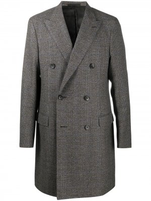 Checked double-breasted coat LANVIN. Цвет: коричневый