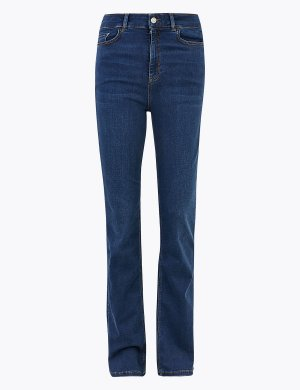 Расклешенные джинсы слим с высокой посадкой Per Una. Цвет: умеренный индиго