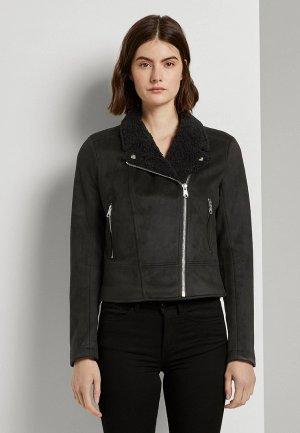 Куртка кожаная Tom Tailor Denim. Цвет: хаки