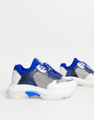 Синие кожаные кроссовки на массивной подошве со змеиным рисунком -Многоцветный Bronx