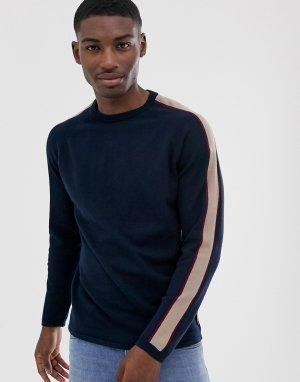Джемпер с полосками на рукавах -Темно-синий Bellfield