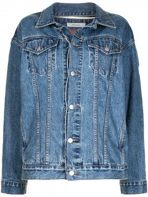 Джинсовая куртка с жатым эффектом REMAIN. Цвет: синий