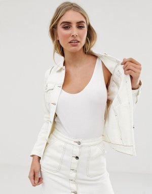 Серовато-бежевая джинсовая куртка -Кремовый Lipsy
