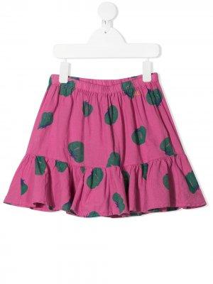 Расклешенная юбка с принтом Bobo Choses. Цвет: розовый