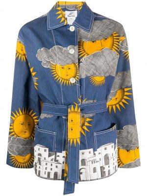 Пиджак 2000-х годов с принтом Fornasetti Pre-Owned. Цвет: синий