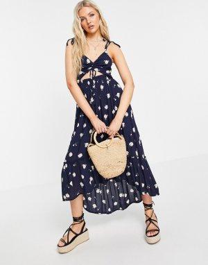 Темно-синее платье миди с цветочным принтом -Темно-синий Hollister