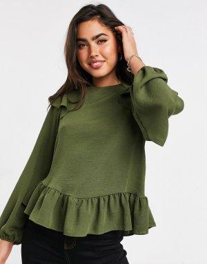 Оливковая блузка с длинными рукавами и оборками -Бесцветный ASOS DESIGN