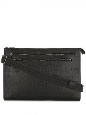 Клатч с тиснением под крокодила Longchamp. Цвет: черный