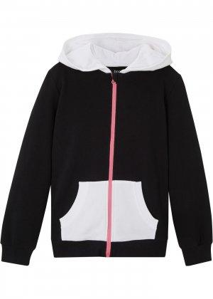 Куртка трикотажная с капюшоном bonprix. Цвет: черный
